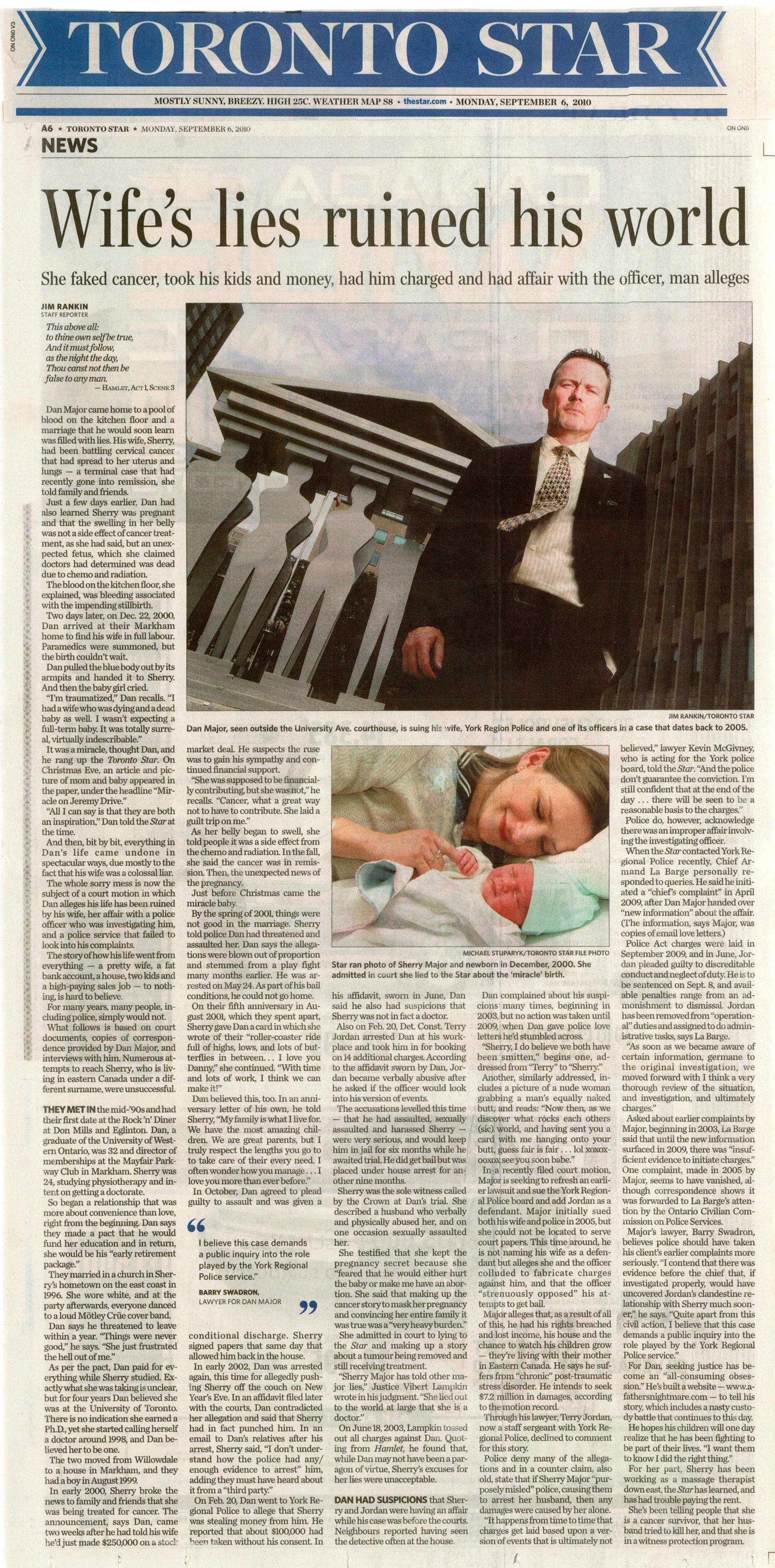 Toronto Star 2010-09-06 Wife's lies ruined his world
